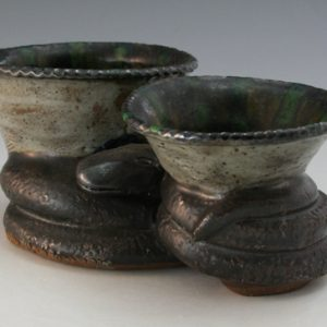 Billy Ray Hussey Pottery Double Joined Snake with Bowls w: Snake NC Folk