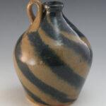 Dwayne Craig Pottery Double Brown:Blue Swirled Jug Catawba Valley NC