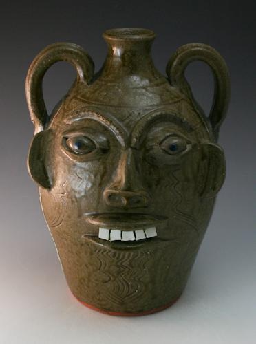 Walter Fleming Pottery 2 Handle Face Jug Catawba Valley NC