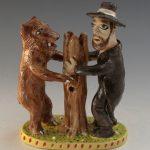 Stacy Lambert Bear and Man Hugging Tree Figural