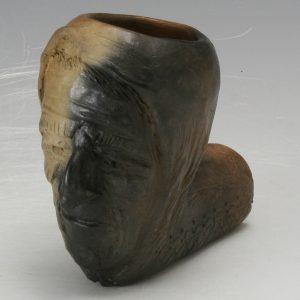 Caroleen Sanders Pottery Catawba Indian Head Pipe